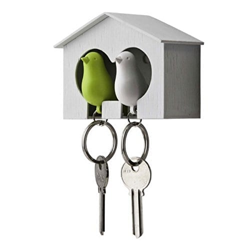 Qualy Duo Sparrow Key Ring Holder Lime / White