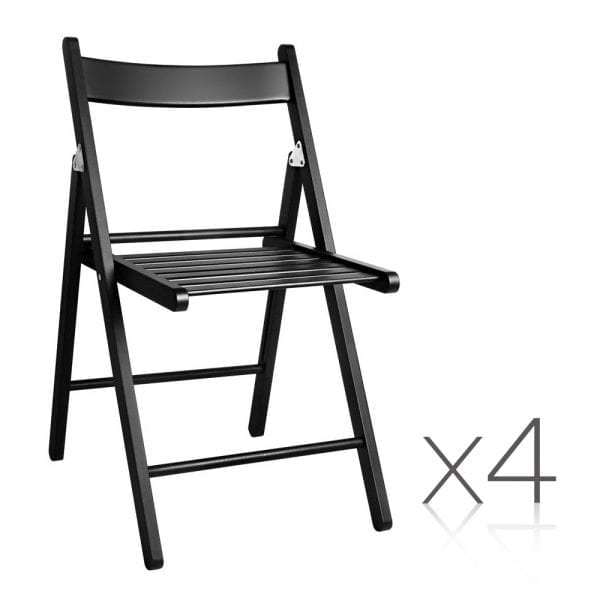 Artiss Foldable Wooden Dining Chair - Black | 4