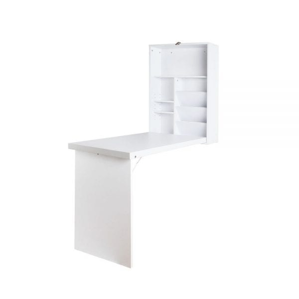 Foldable Desk with Bookshelf - White