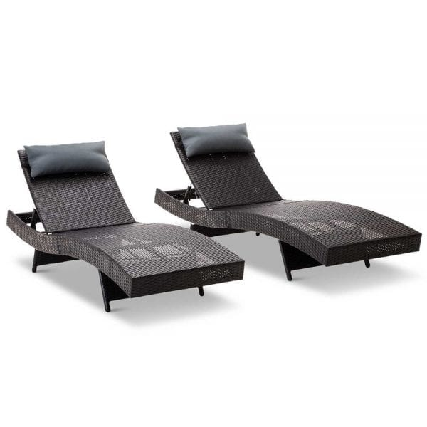 Set of 2 Outdoor Wicker Sun Lounges Black