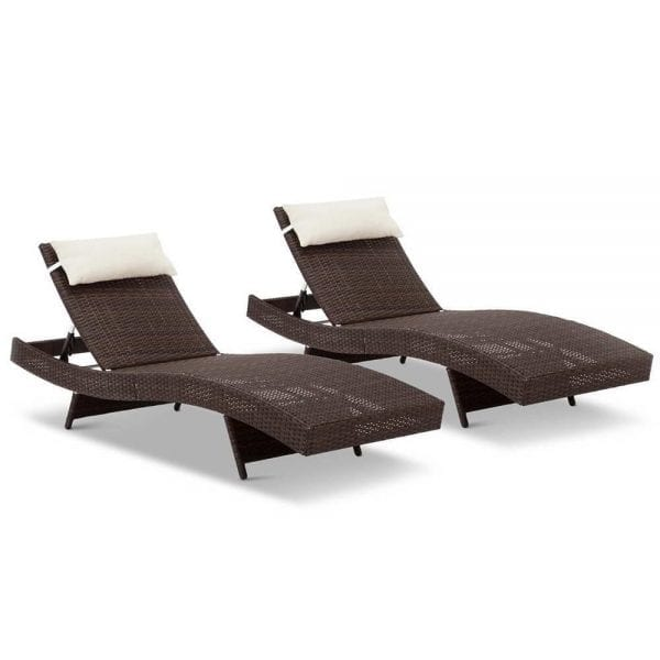 Set of 2 Outdoor Wicker Sun Lounges Brown