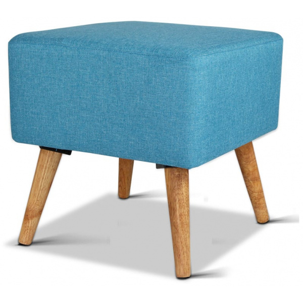 Linen Square Foot Stool - Blue