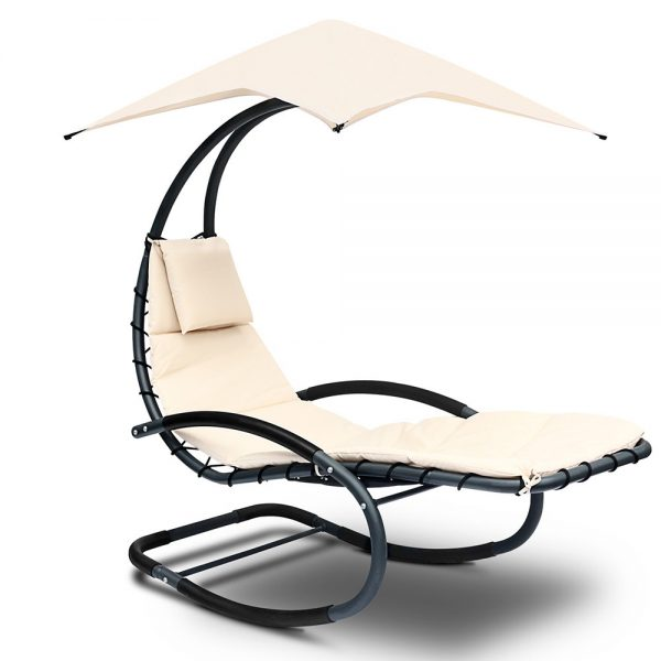 Gardeon Outdoor Rocking Armchair with Shade - Black & Beige