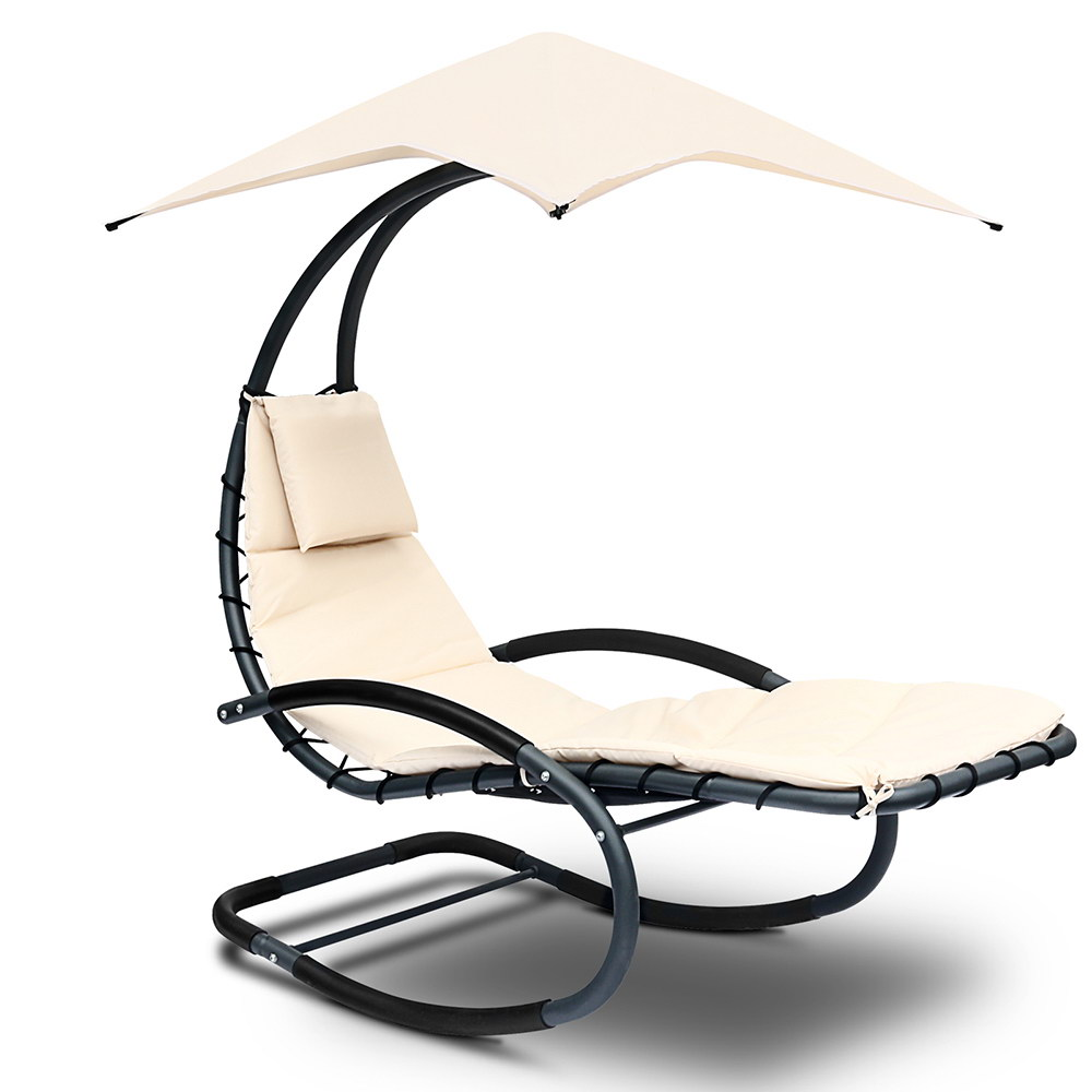 Outdoor Rocking Steel Arm Chair with Shade - Black & Beige