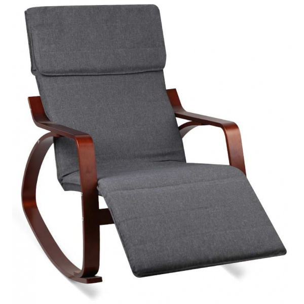 Fabric Rocking Arm Chair with Adjustable Footrest - Charcoal