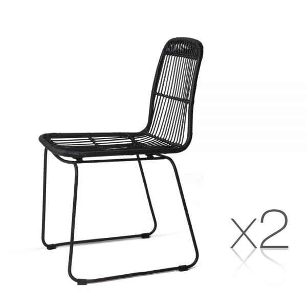 Outdoor Wicker Dining Chair Black | 2