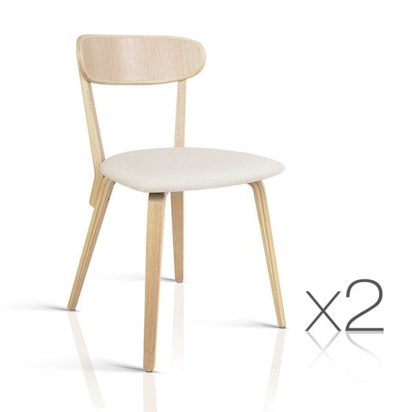 Set of 2 Timber Wood Dining Chair - Beige