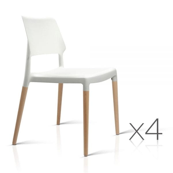 Artiss Wooden Stackable Dining Chairs - White