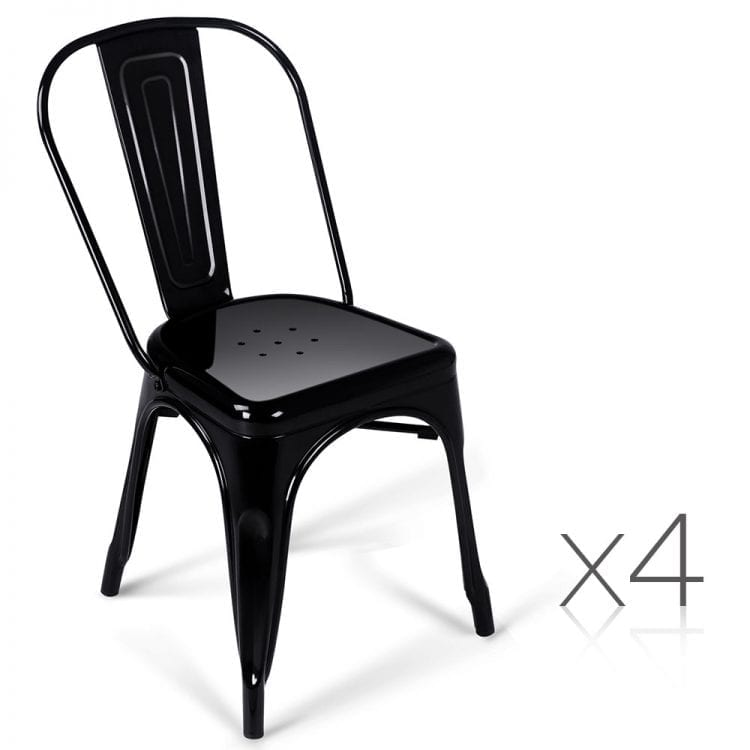 Set of 4 Steel Metal DIning Chairs - Gloss Black
