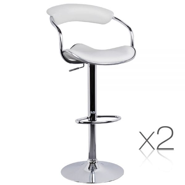 Set of 2 PU Leather Bar Stool - White