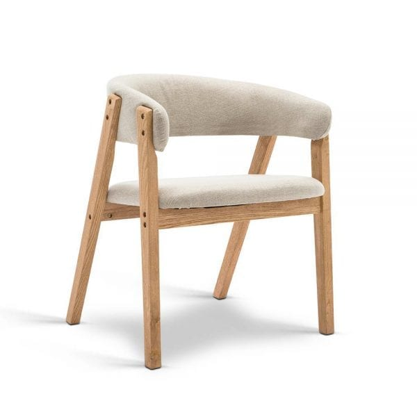 Linen Fabric and Wood Arm Chair - Beige