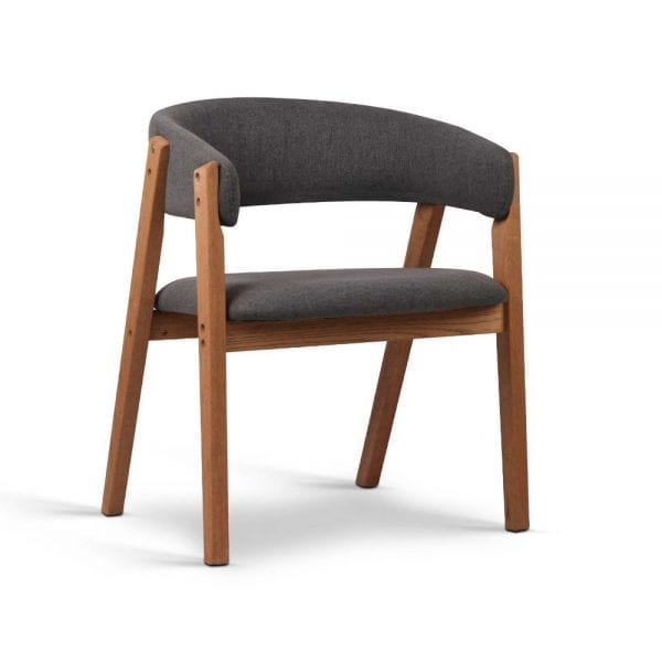 Linen Fabric and Wood Arm Chair - Grey