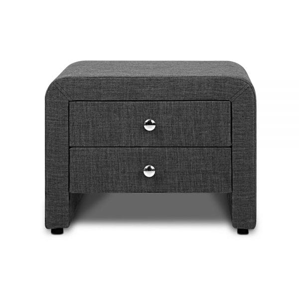 Fabric Bedside Table with 2 Drawers - Charcoal