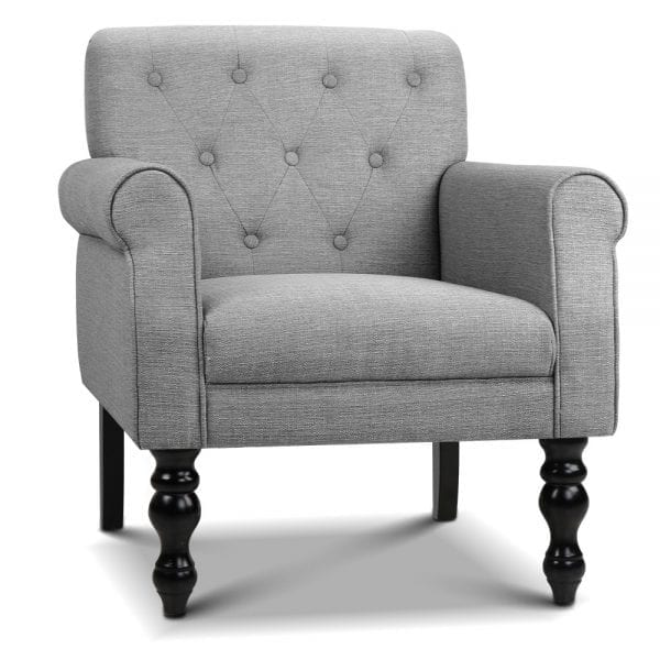 Wingback Linen Fabric Accent Armchair - Grey