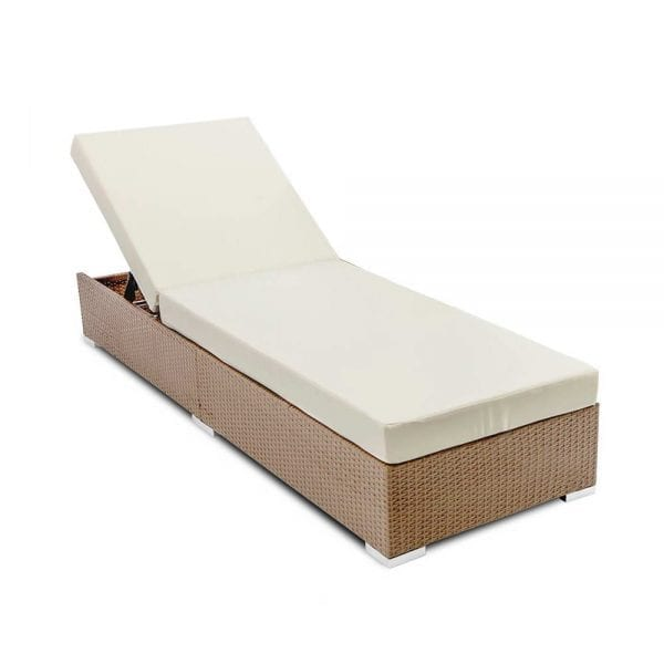 Outdoor Wicker Sun Lounge - Natural Brown