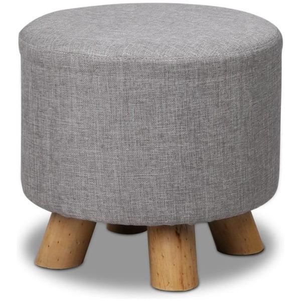Linen Round Ottoman - Grey
