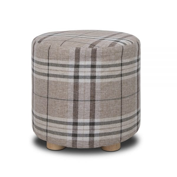 Linen Round Ottoman - Lattice