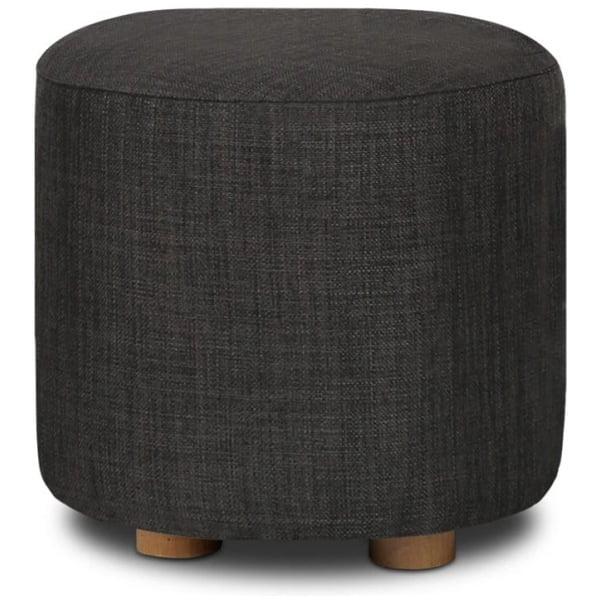 Pine Wood Round Ottoman Footstool - Charcoal