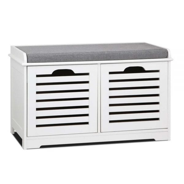 Fabric Shoe Bench with Drawers - White & Grey