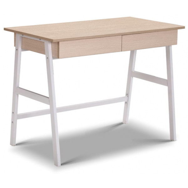 Metal Desk with Drawer - White with Oak Top