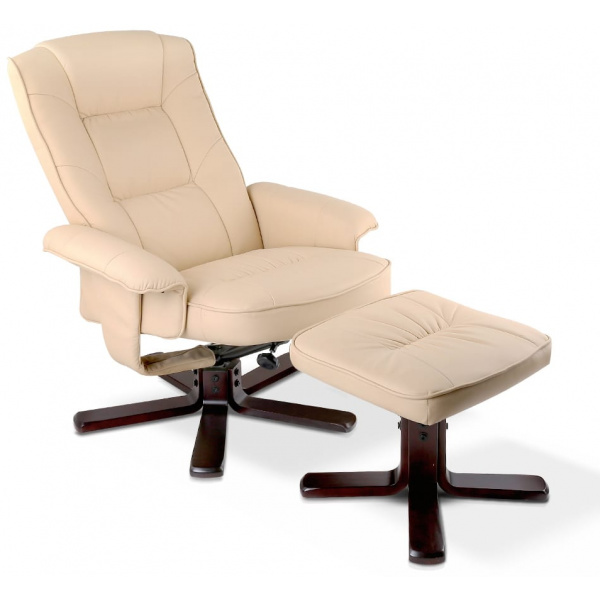 PU Leather Wood Arm Chair Recliner - Beige