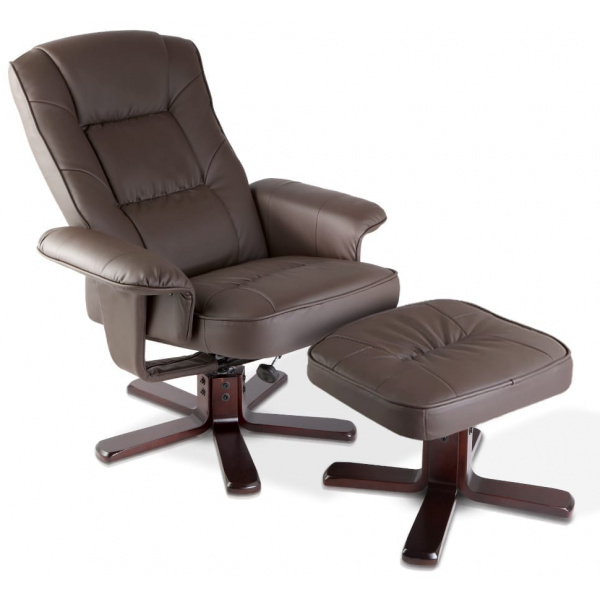 PU Leather Wood Arm Chair Recliner - Chocolate