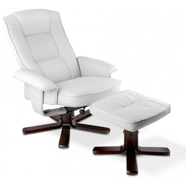 PU Leather Wood Arm Chair Recliner - White