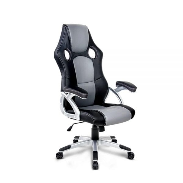 PU Leather Racing Style Office Chair - Black & Grey