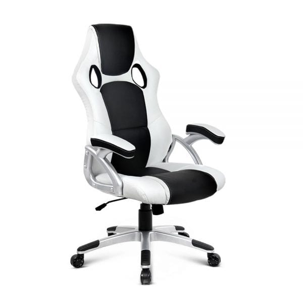 PU Leather Racing Style Office Chair - Black & White