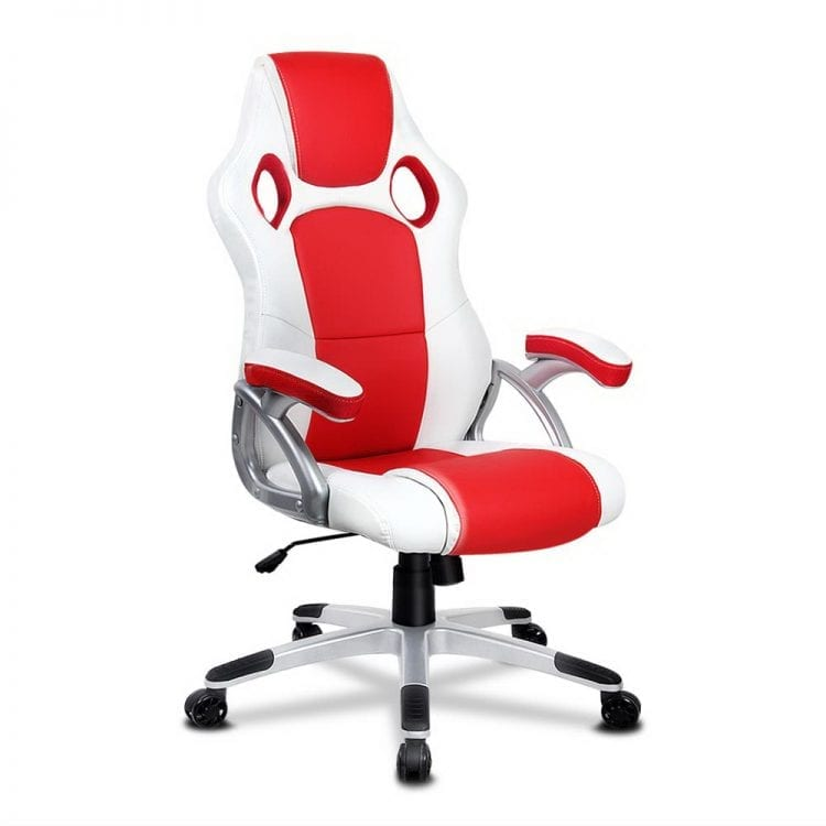 PU Leather Padded Office Computer Chair - Red