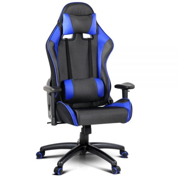 PU Leather & Mesh Reclining Office Desk Gaming Executive Chair - Black & Blue