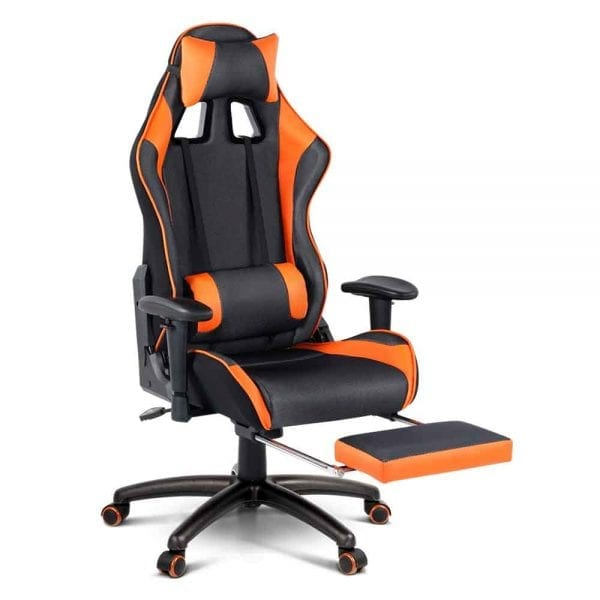 PU Leather & Mesh Reclining Office Desk Gaming Executive Chair - Orange