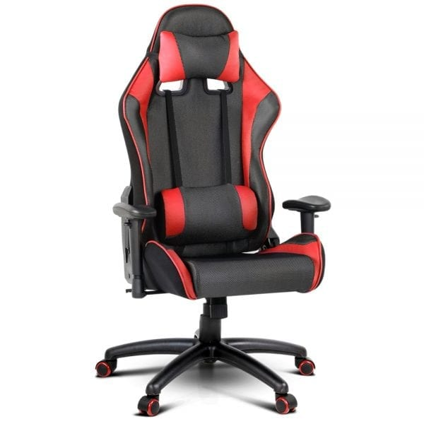 PU Leather & Mesh Reclining Office Desk Gaming Executive Chair - Red