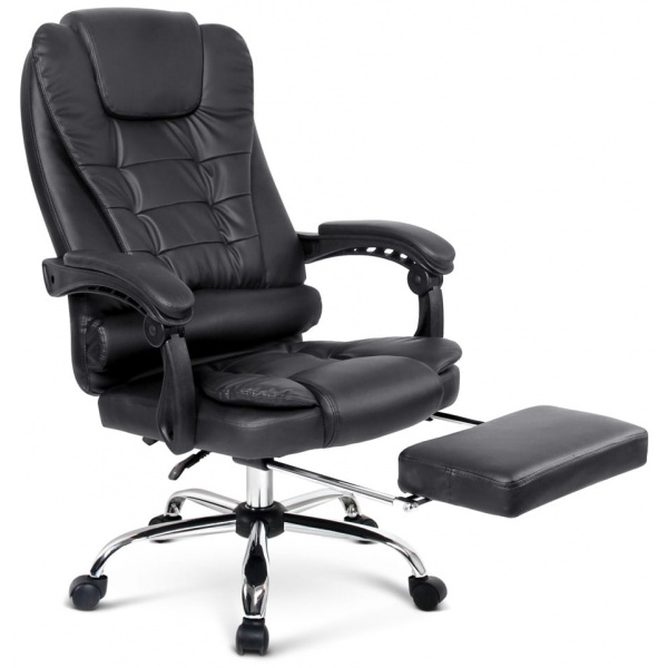 Leather Reclining Chair with Footrest Black