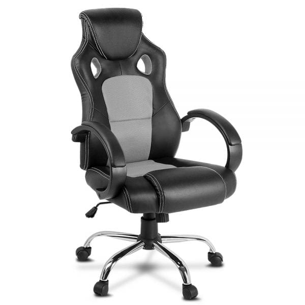 Racing Style PU Leather Office Chair - Grey