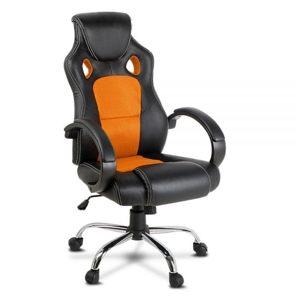 Racing Style PU Leather Office Chair - Orange