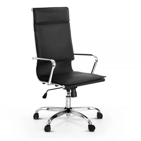 PU Leather Reclining High Back Office Chair - Black