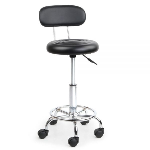 PU Leather Swivel Chair with Backrest - Black