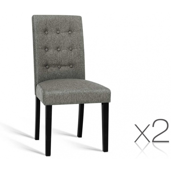 Set of 2 Fabric Dining Chair - Grey