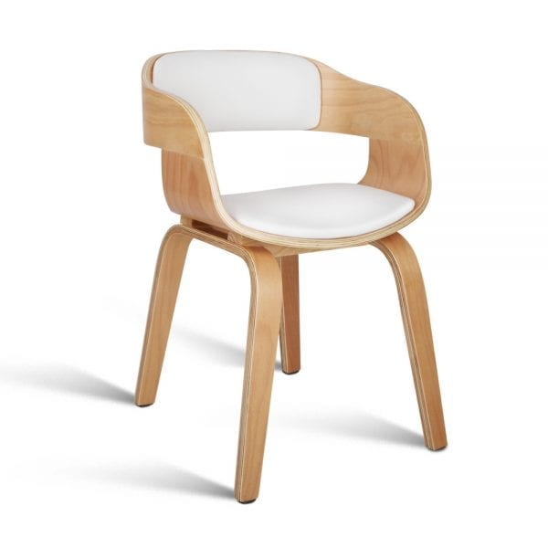 Wooden Dining Chair with Padded Seat - White