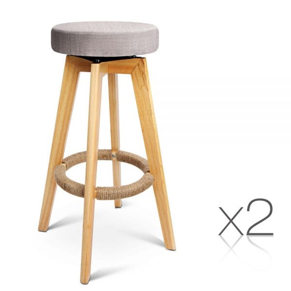 Set of 2 Wood and Fabric Bar Stool - Taupe