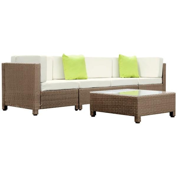 Gardeon 5 Piece PE Wicker Outdoor Sofa - Brown & Biege