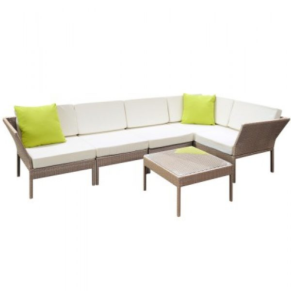 6 Piece Outdoor Wicker Sofa Set Brown