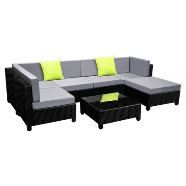 7 Piece Outdoor Furniture Set Black