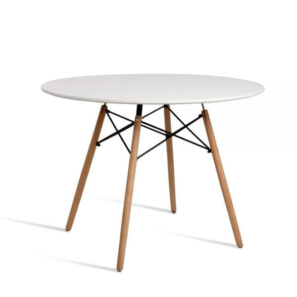 4 Seater Round Beech Timber Dining Table - White