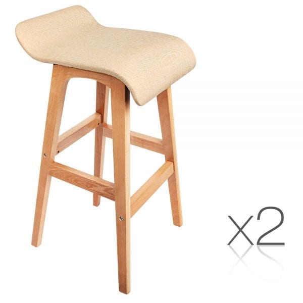Edith Wooden Backless Bar Stools - Beige 2 Set