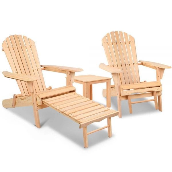 3 Piece Outdoor Wooden Lounge Chair and Table Set