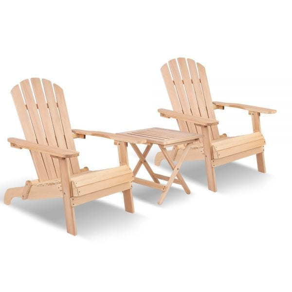 Gardeon 3 Piece Wooden Table and Chair Set Natural Wood