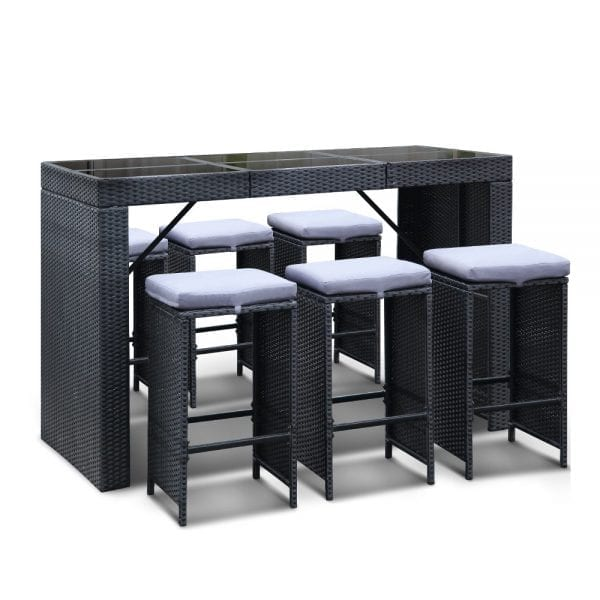 7 Piece Outdoor Dining Table Set - Black