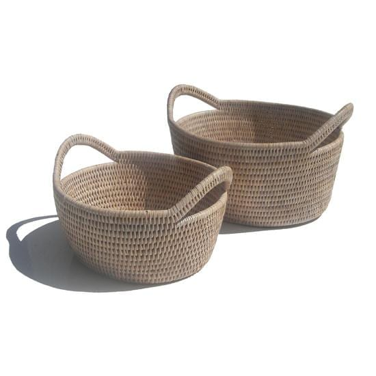 Satara White Oval Baskets | Set of 2